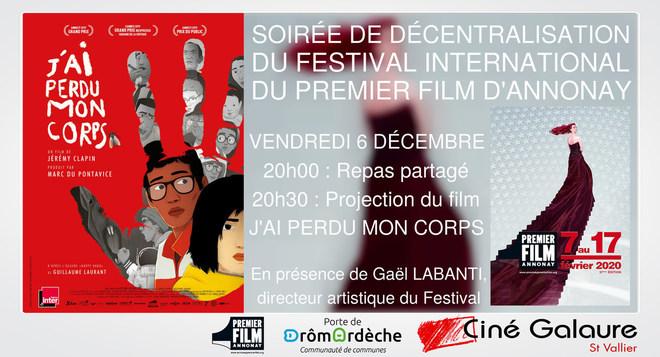 Soirée de décentralisation du Festival International du Premier Film d'Annonay - J'AI PERDU MON CORPS - VENDREDI 6 DÉCEMBRE - Dès 20H00