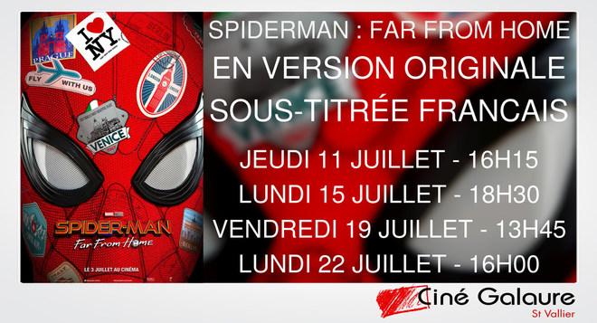 4 séances du film SPIDERMAN : FAR FROM HOME en Version Originale Sous-Titrée Français !!!!